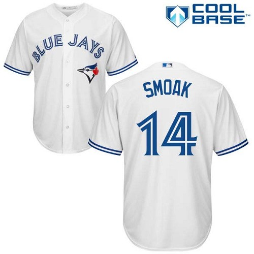 Blue Jays #14 Justin Smoak White New Cool Base Stitched Baseball Jersey