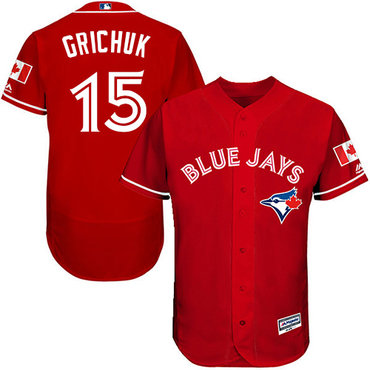 Blue Jays #15 Randal Grichuk Red Flexbase Authentic Collection Canada Day Stitched MLB Jersey