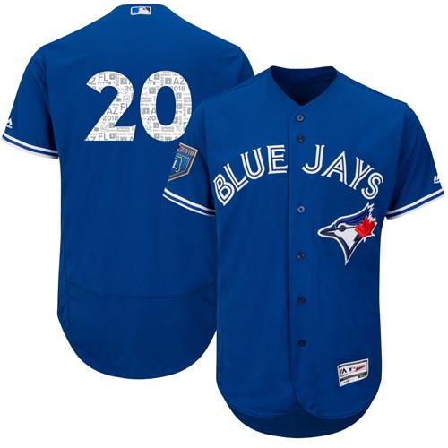 Blue Jays #20 Josh Donaldson Blue 2018 Spring Training Authentic Flex Base Stitched MLB Jersey