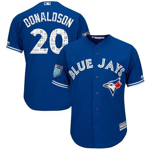 Blue Jays #20 Josh Donaldson Blue 2018 Spring Training Cool Base Stitched MLB Jersey