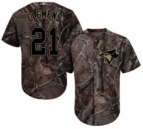 Blue Jays #21 Roger Clemens Camo Realtree Collection Cool Base Stitched Youth Baseball Jersey