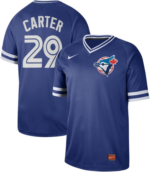 Blue Jays #29 Joe Carter Royal Authentic Cooperstown Collection Stitched Baseball Jersey