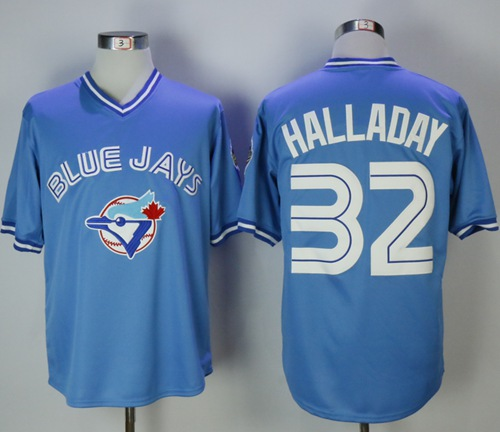 Blue Jays #32 Roy Halladay Light Blue Cooperstown Throwback Stitched MLB Jersey