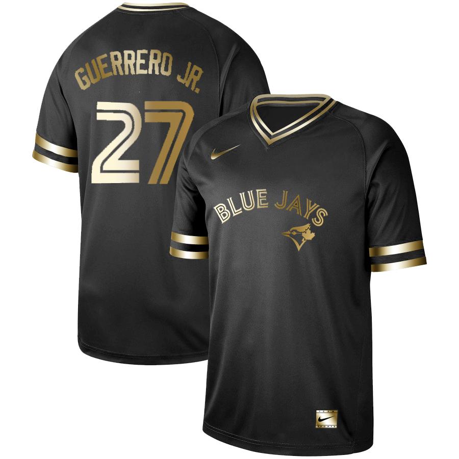 Blue Jays 27 Vladimir Guerrero Jr. Black Gold Nike Cooperstown Collection Legend V Neck Jersey