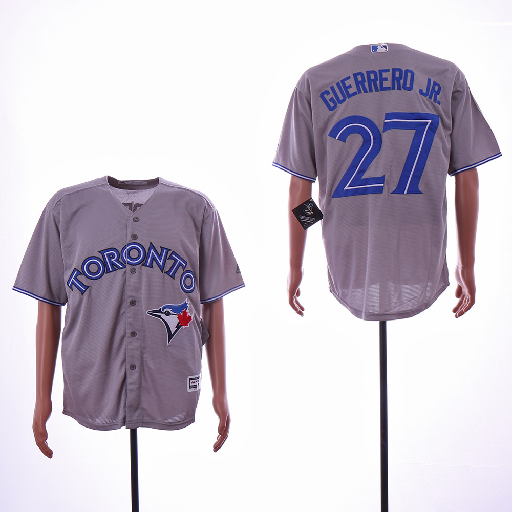 Blue Jays 27 Vladimir Guerrero Jr. Gray Cool Base Jersey