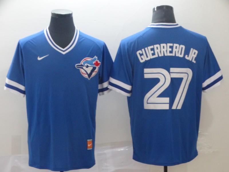 Blue Jays 27 Vladimir Guerrero Jr. Royal Throwback Jersey