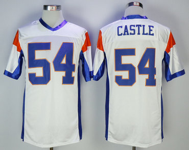 Blue Mountain State 54 Alan Castle White Movie Football Jersey