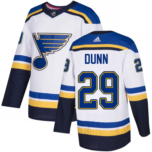 Blues #29 Vince Dunn White Road Authentic Stitched Hockey Jersey