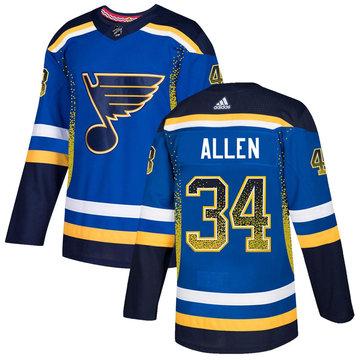 Blues 34 Jake Allen Royal Drift Fashion Adidas Jersey