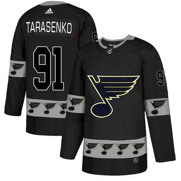 Blues 91 Vladimir Tarasenko Black Team Logos Fashion Adidas Jersey