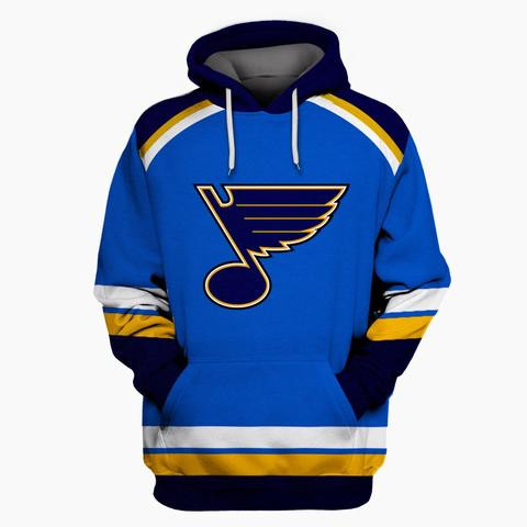 Blues Blue All Stitched Hooded Sweatshirt