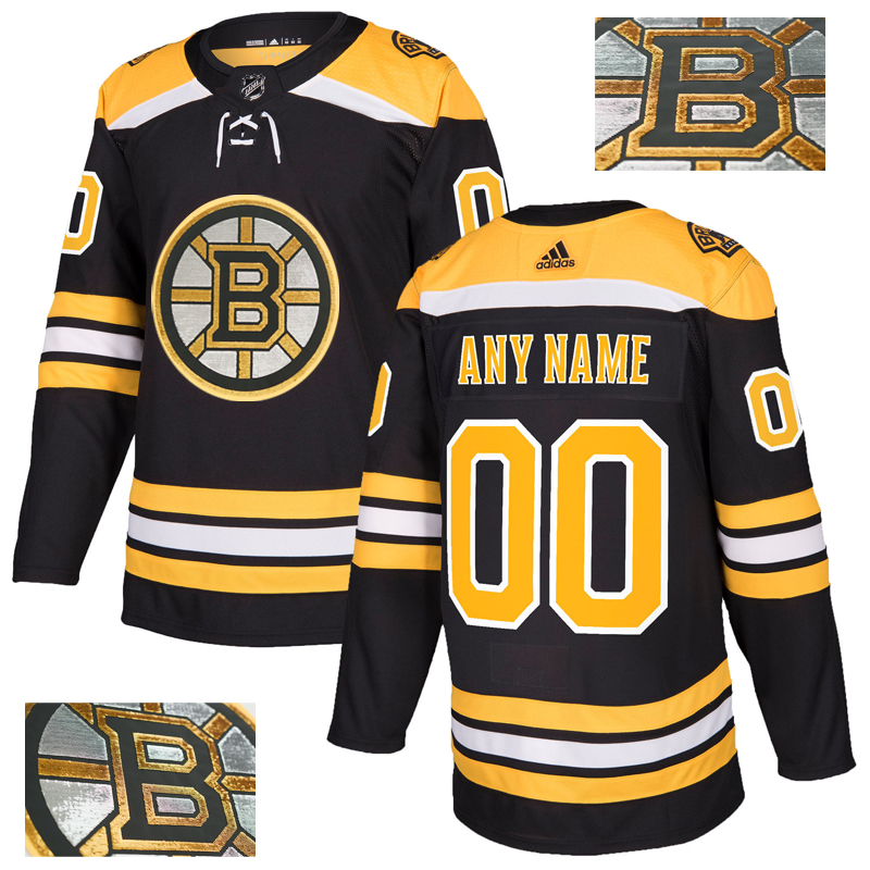 Boston Bruins   Customized Black With Special Glittery Logo Adidas Jersey