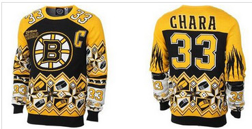 Boston Bruins #33 Zdeno Chara Black Yellow Men's NHL Ugly Sweater