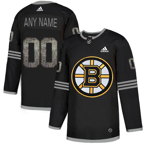 Boston Bruins Black Shadow Logo Print Men's Customized Adidas Jersey