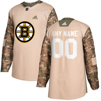 Boston Bruins Camo Adidas Veterans Day Custom Practice Jersey