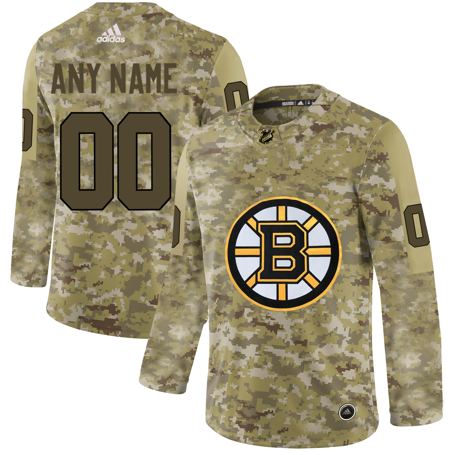 Boston Bruins Camo Men's Customized Adidas Jersey