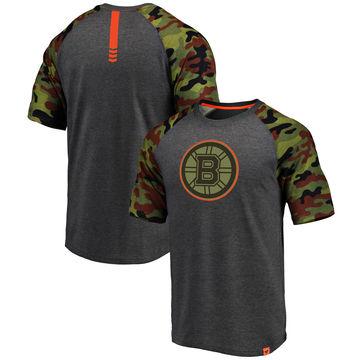 Boston Bruins Fanatics Branded Heathered Gray Camo Recon Camo Raglan T-Shirt