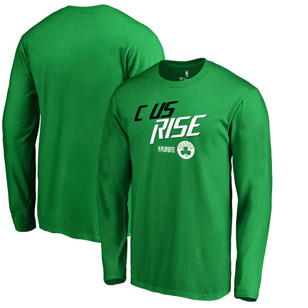 Boston Celtics Fanatics Branded 2018 NBA Playoffs Slogan Long Sleeve T-Shirt Kelly Green