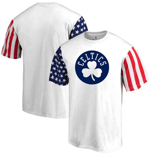 Boston Celtics Fanatics Branded Stars & Stripes T-Shirt White