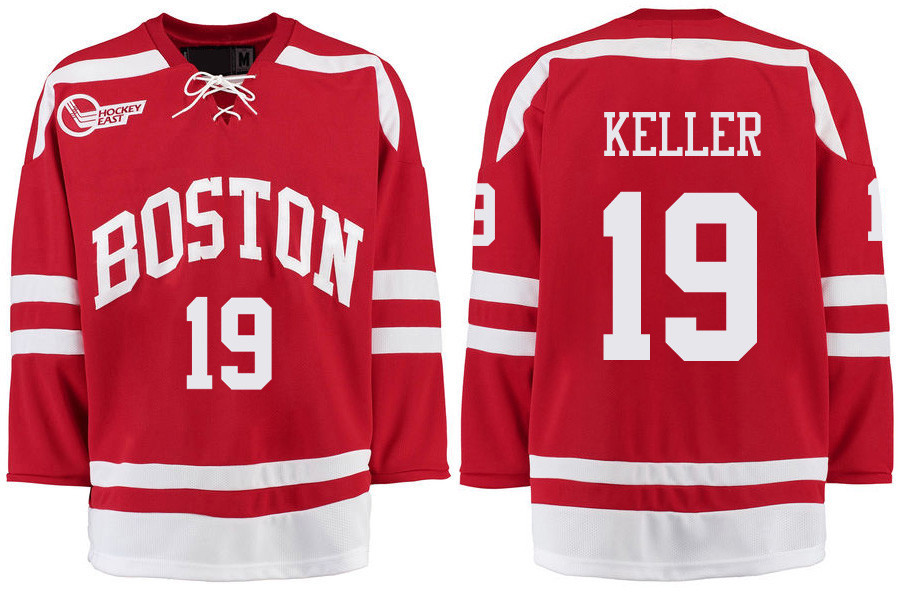 Boston University Terriers BU 19 Clayton Keller Red Stitched Hockey Jersey