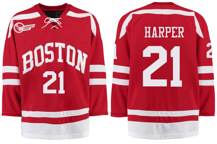 Boston University Terriers BU 21 Patrick Harper Red Stitched Hockey Jersey