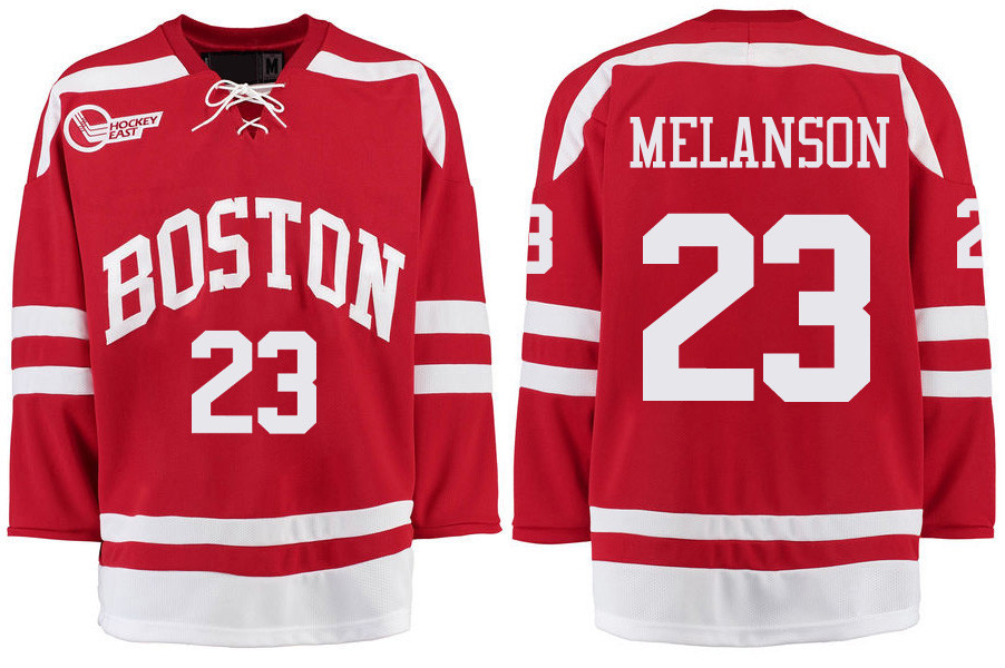 Boston University Terriers BU 23 Drew Melanson Red Stitched Hockey Jersey