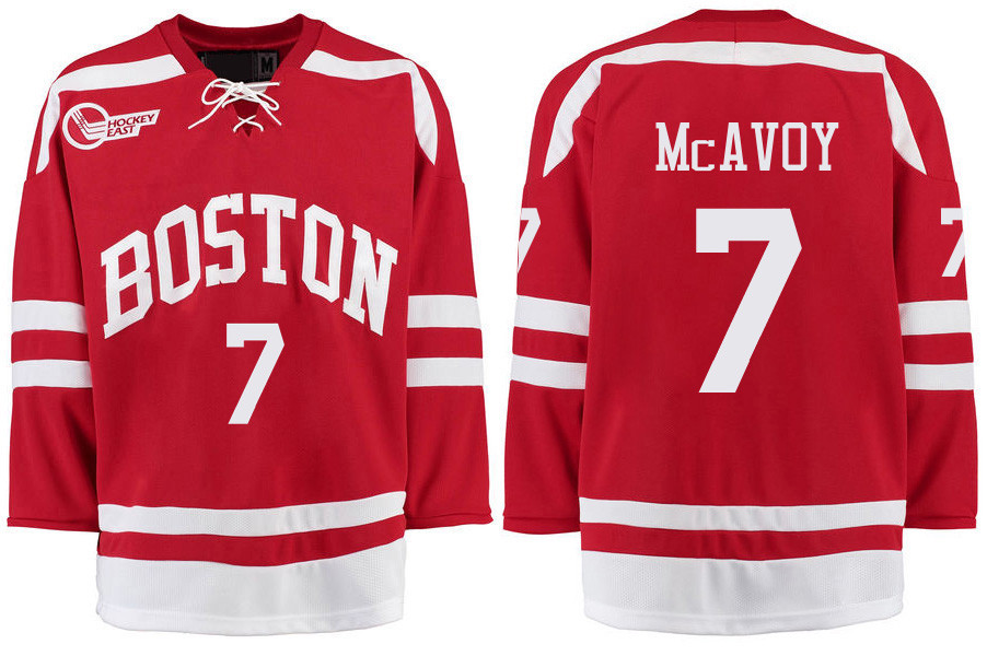 Boston University Terriers BU 7 Charlie McAvoy Red Stitched Hockey Jersey