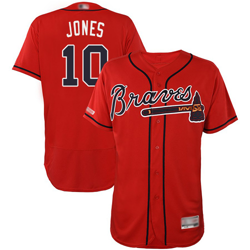 Braves #10 Chipper Jones Red Flexbase Authentic Collection Stitched Baseball Jersey