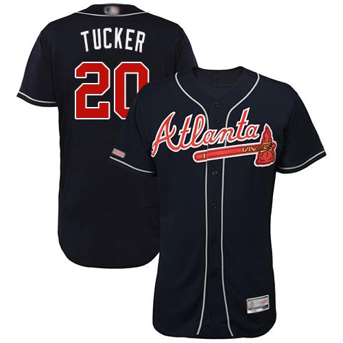 Braves #20 Preston Tucker Navy Blue Flexbase Authentic Collection Stitched Baseball Jersey
