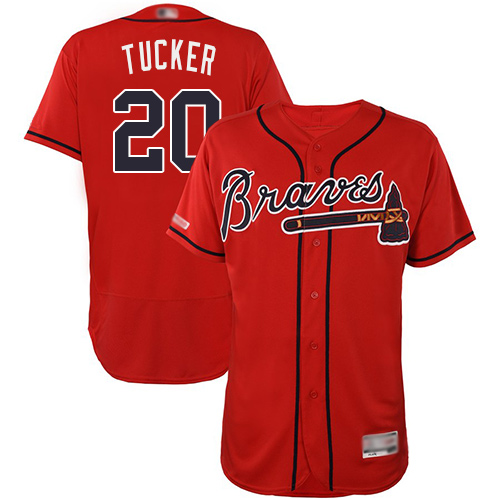 Braves #20 Preston Tucker Red Flexbase Authentic Collection Stitched Baseball Jersey