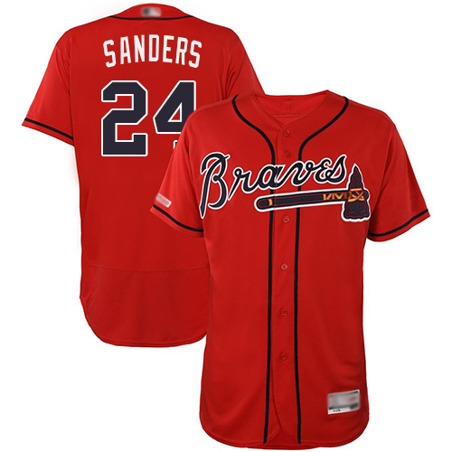 Braves #24 Deion Sanders Red Flexbase Authentic Collection Stitched Baseball Jersey