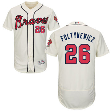 Braves #26 Mike Foltynewicz Cream Flexbase Authentic Collection Stitched Baseball Jersey