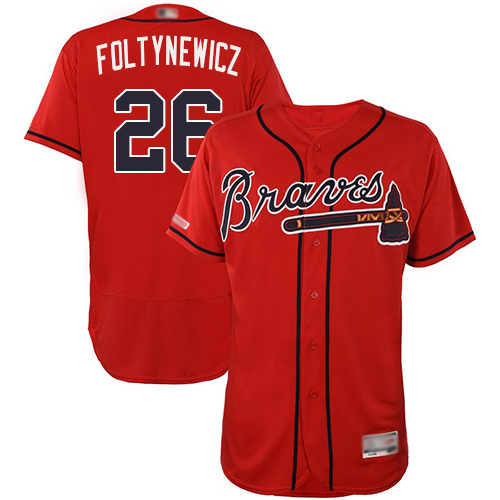 Braves #26 Mike Foltynewicz Red Flexbase Authentic Collection Stitched Baseball Jersey