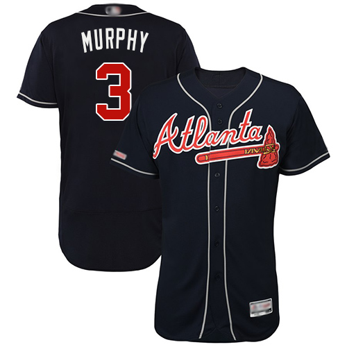 Braves #3 Dale Murphy Navy Blue Flexbase Authentic Collection Stitched Baseball Jersey