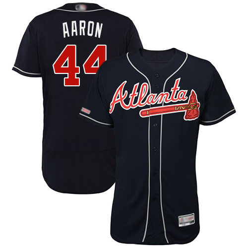 Braves #44 Hank Aaron Navy Blue Flexbase Authentic Collection Stitched Baseball Jersey