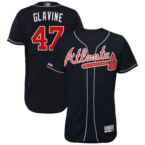 Braves #47 Tom Glavine Navy Blue Flexbase Authentic Collection Stitched Baseball Jersey