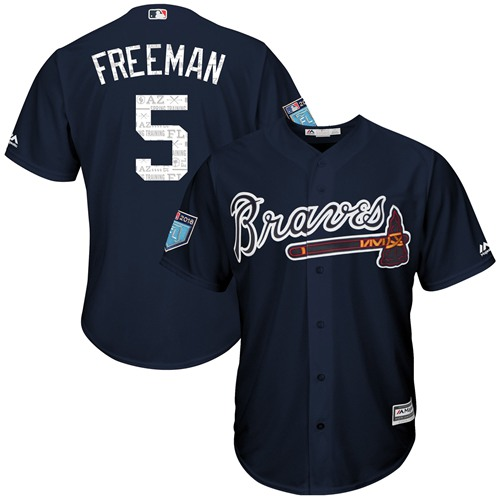 Braves #5 Freddie Freeman Navy Blue 2018 Spring Training Cool Base Stitched MLB Jersey