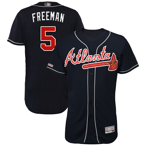 Braves #5 Freddie Freeman Navy Blue Flexbase Authentic Collection Stitched Baseball Jersey