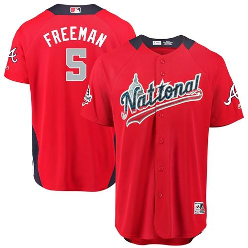 Braves #5 Freddie Freeman Red 2018 All-Star National League Stitched Baseball Jersey