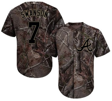 Braves #7 Dansby Swanson Camo Realtree Collection Cool Base Stitched Youth Baseball Jersey