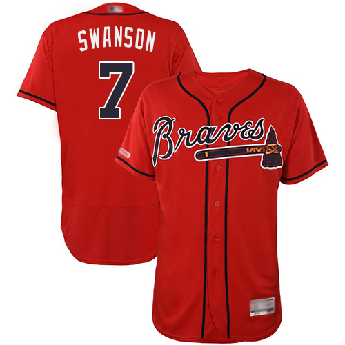 Braves #7 Dansby Swanson Red Flexbase Authentic Collection Stitched Baseball Jersey
