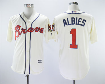 Braves 1 Ozzie Albies Cream Cool Base Jersey