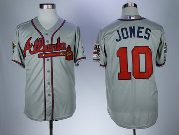 Braves 10 Chipper Jones Gray With 30 Season In Atlanta Patch Cool Base Jersey