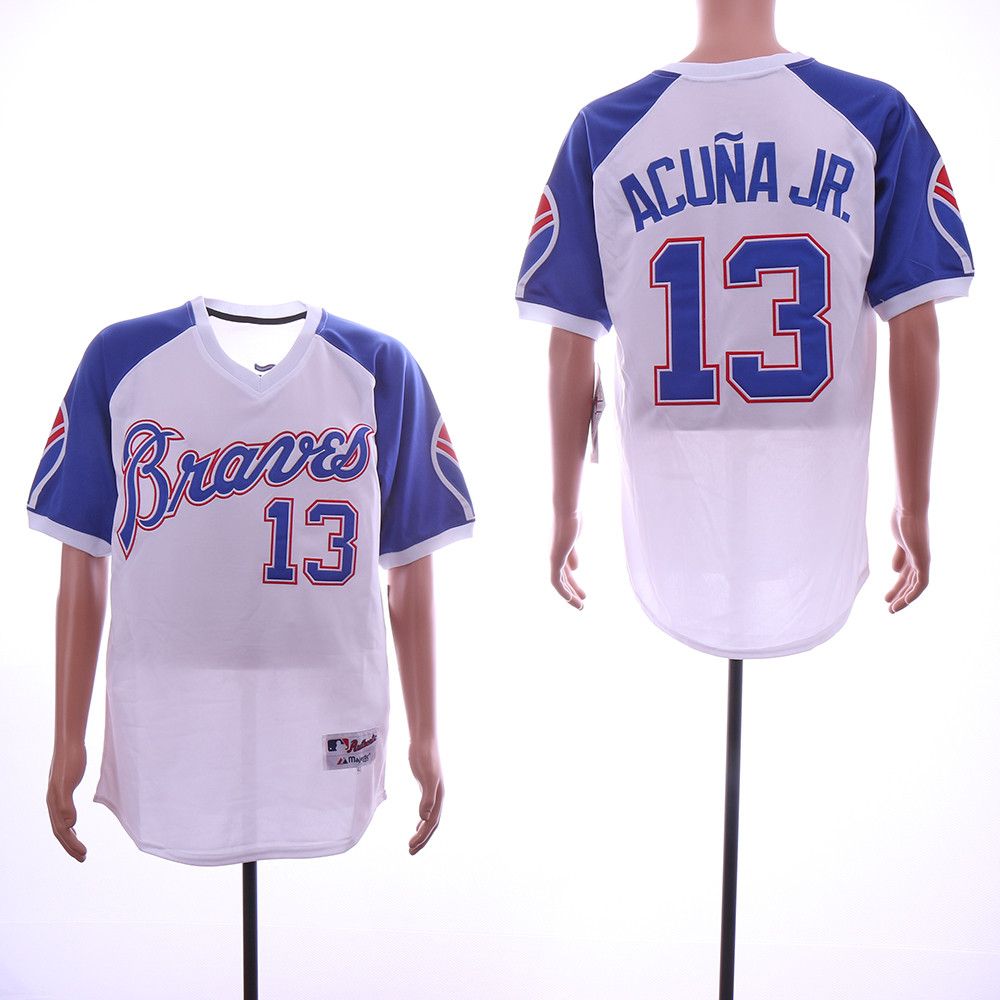 Braves 13 Ronald Acuna Jr. White Throwback Jersey