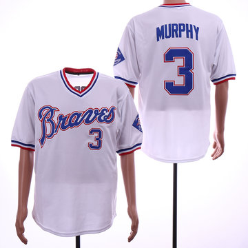 Braves 3 Dale Murphy White Throwback Jersey