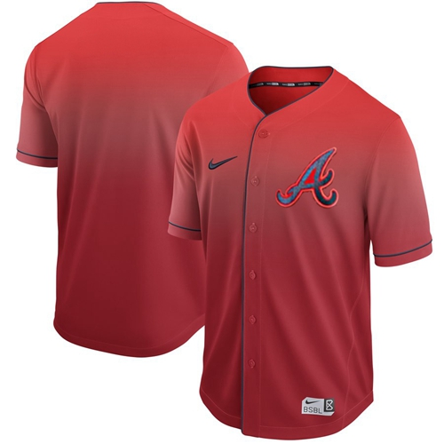 Braves Blank Red Fade Authentic Stitched Baseball Jersey