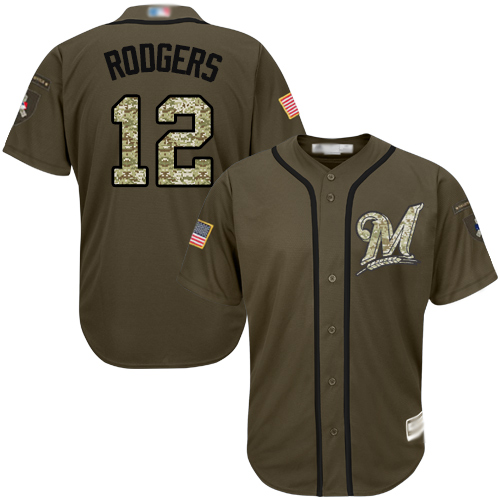 Brewers #12 Aaron Rodgers Green Salute to Service Stitched Baseball Jersey