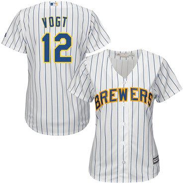 Brewers #12 Stephen Vogt White Strip Home Women's Stitched MLB Jersey