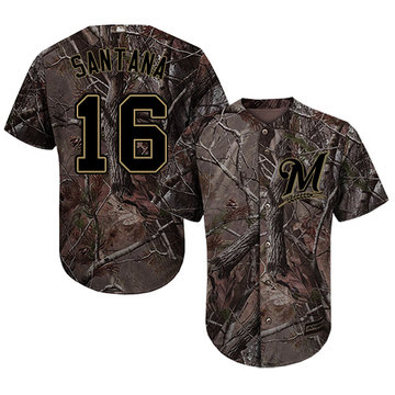 Brewers #16 Domingo Santana Camo Realtree Collection Cool Base Stitched Baseball Jersey
