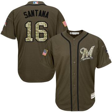 Brewers #16 Domingo Santana Green Salute to Service Stitched Baseball Jersey